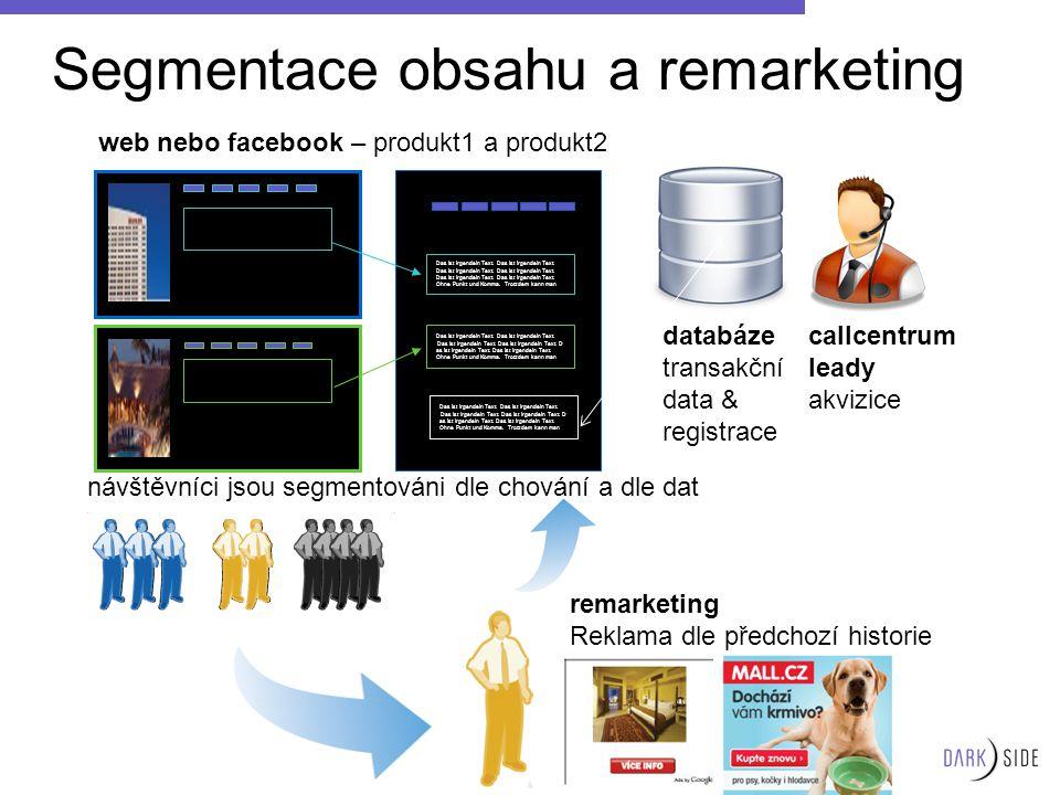 Segmentace obsahu a remarketing Das ist irgendein Text. Das ist irgendein Text. Das ist irgendein Text. Ohne Punkt und Komma. Trotzdem kann man Das is