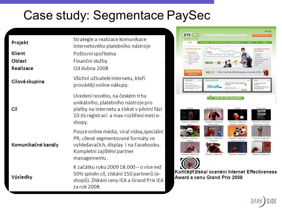 Projekt Strategie a realizace komunikace internetového platebního nástroje KlientPoštovní spořitelna OblastFinanční služby RealizaceOd dubna 2008 Cílo