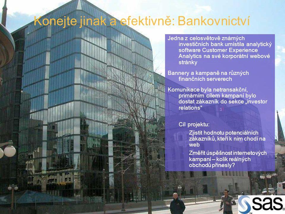 Konejte jinak a efektivně: Bankovnictví Jedna z celosvětově známých investičních bank umístila analytický software Customer Experience Analytics na sv