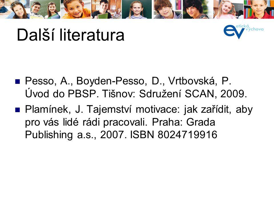 Další literatura Pesso, A., Boyden-Pesso, D., Vrtbovská, P. Úvod do PBSP. Tišnov: Sdružení SCAN, 2009. Plamínek, J. Tajemství motivace: jak zařídit, a