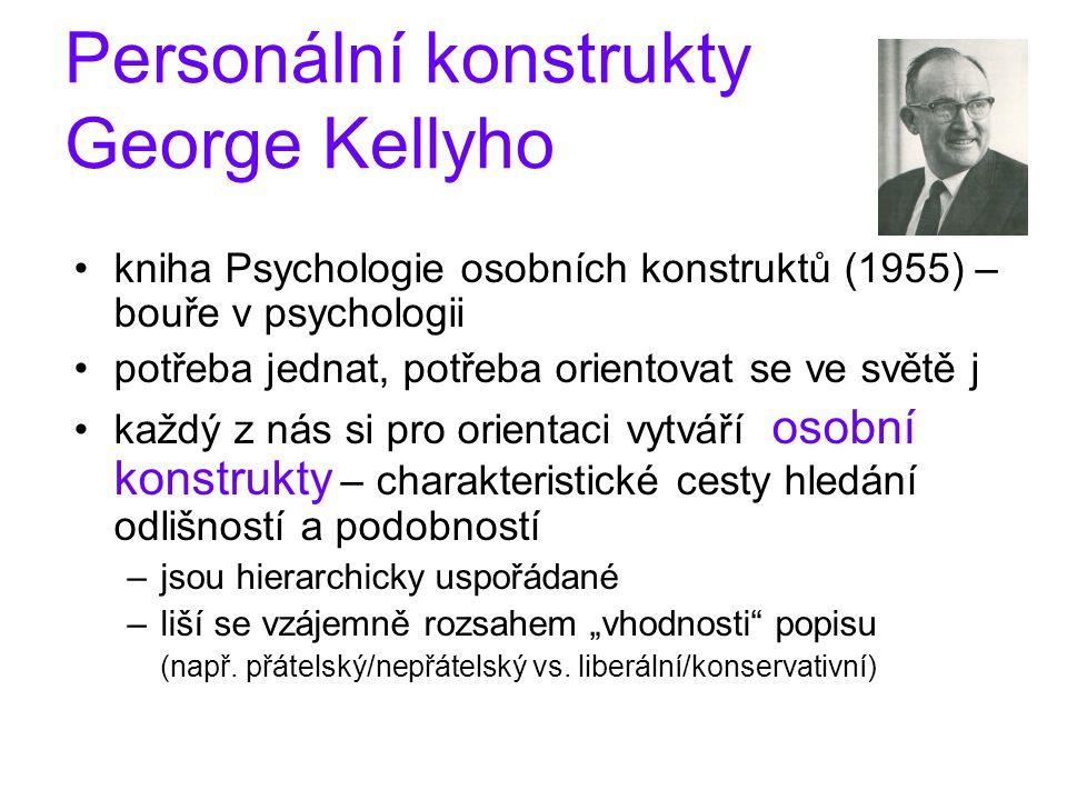 """Personální konstrukty George Kellyho kniha Psychologie osobních konstruktů (1955) – bouře v psychologii potřeba jednat, potřeba orientovat se ve světě j každý z nás si pro orientaci vytváří osobní konstrukty – charakteristické cesty hledání odlišností a podobností –jsou hierarchicky uspořádané –liší se vzájemně rozsahem """"vhodnosti popisu (např."""
