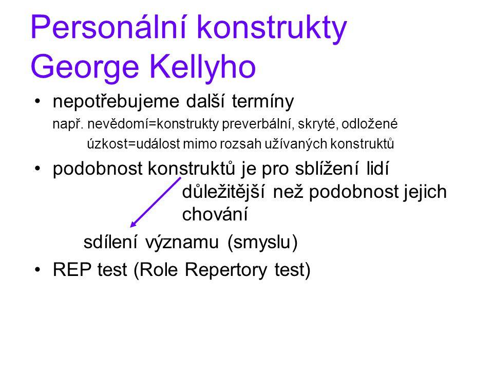 Personální konstrukty George Kellyho nepotřebujeme další termíny např. nevědomí=konstrukty preverbální, skryté, odložené úzkost=událost mimo rozsah už