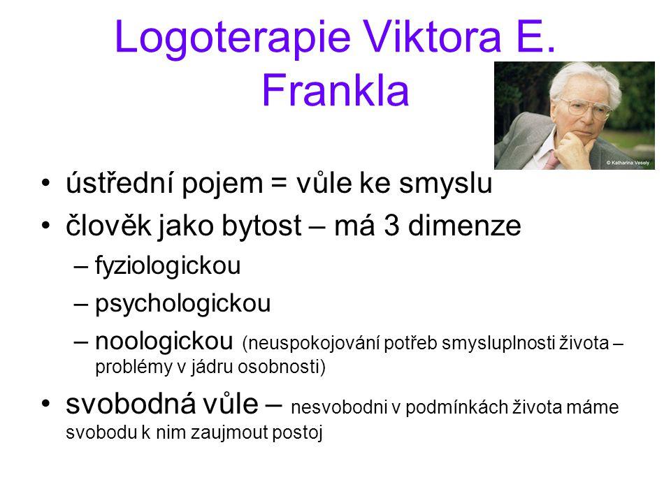 Logoterapie Viktora E. Frankla ústřední pojem = vůle ke smyslu člověk jako bytost – má 3 dimenze –fyziologickou –psychologickou –noologickou (neuspoko