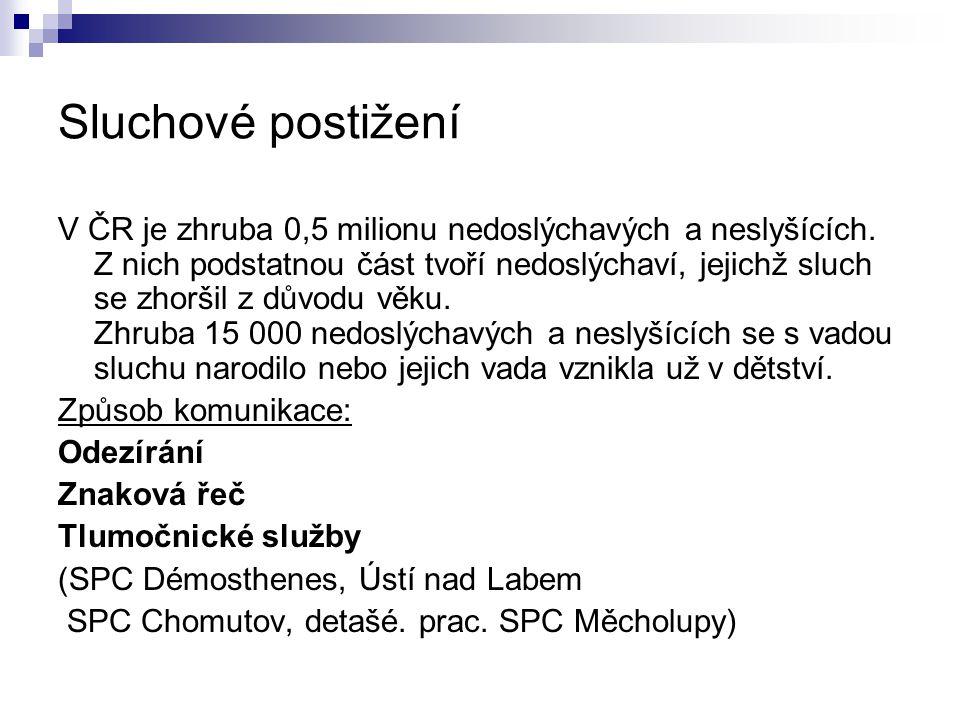 Sluchové postižení V ČR je zhruba 0,5 milionu nedoslýchavých a neslyšících. Z nich podstatnou část tvoří nedoslýchaví, jejichž sluch se zhoršil z důvo