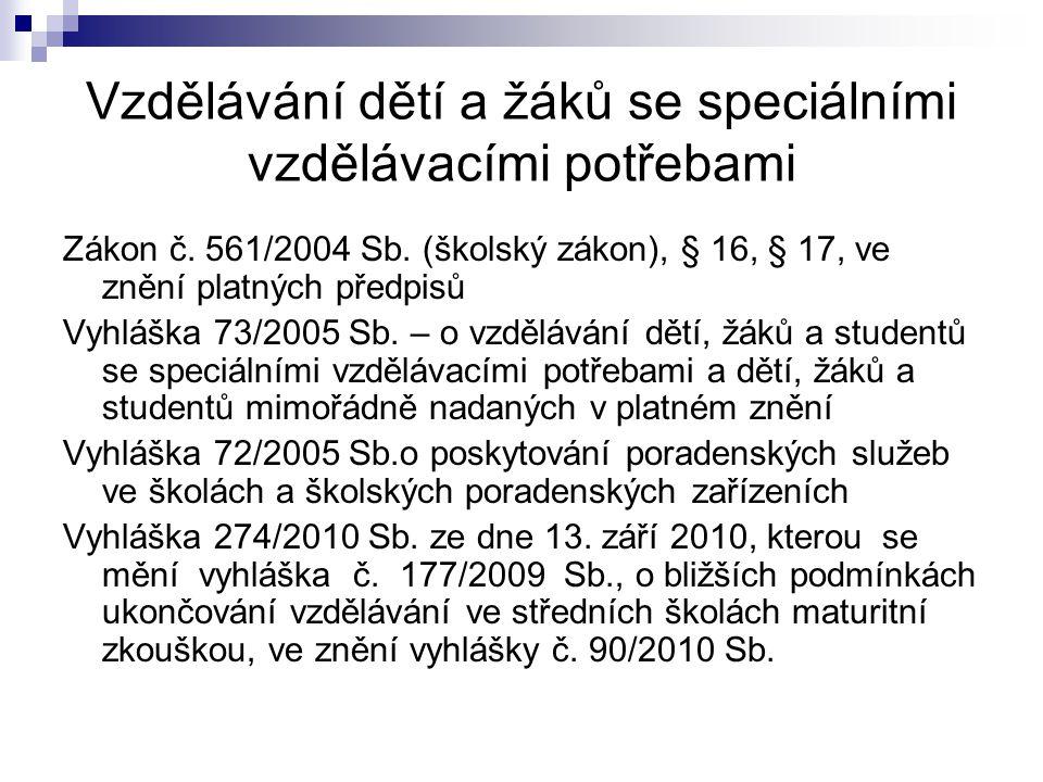 Vzdělávání dětí a žáků se speciálními vzdělávacími potřebami Zákon č. 561/2004 Sb. (školský zákon), § 16, § 17, ve znění platných předpisů Vyhláška 73