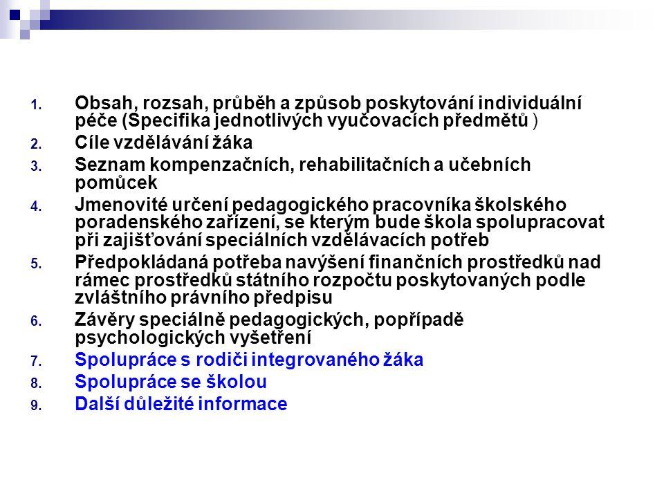 1. Obsah, rozsah, průběh a způsob poskytování individuální péče (Specifika jednotlivých vyučovacích předmětů ) 2. Cíle vzdělávání žáka 3. Seznam kompe