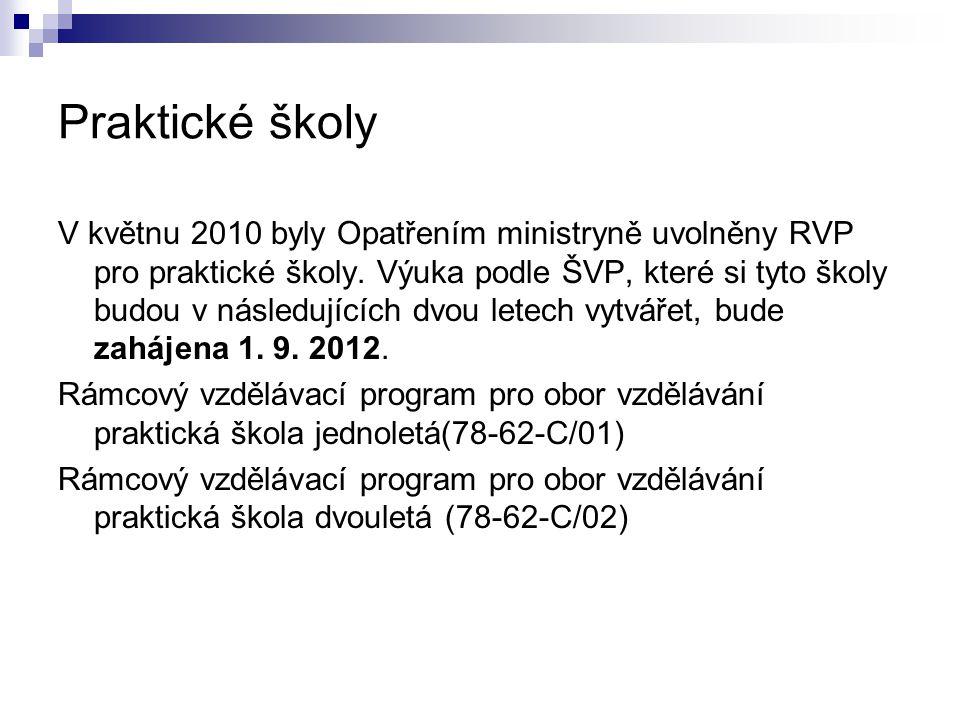 Praktické školy V květnu 2010 byly Opatřením ministryně uvolněny RVP pro praktické školy. Výuka podle ŠVP, které si tyto školy budou v následujících d