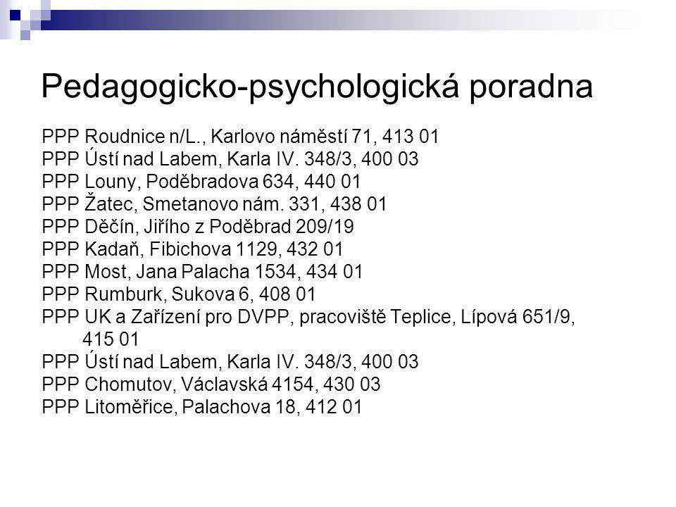 Pedagogicko-psychologická poradna PPP Roudnice n/L., Karlovo náměstí 71, 413 01 PPP Ústí nad Labem, Karla IV. 348/3, 400 03 PPP Louny, Poděbradova 634