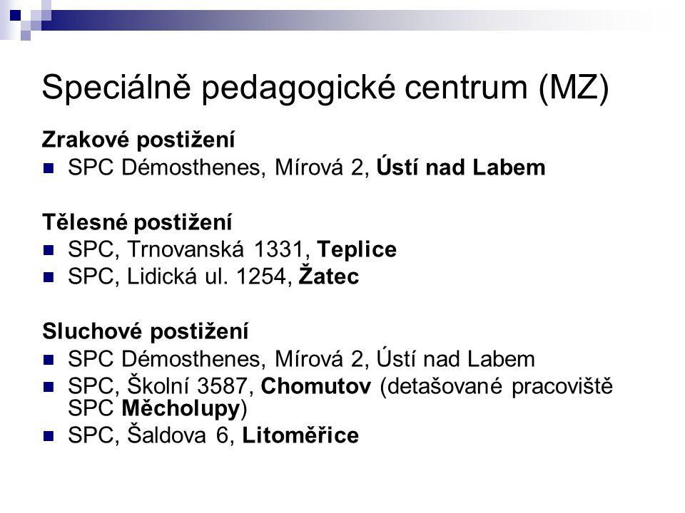 Speciálně pedagogické centrum (MZ) Zrakové postižení SPC Démosthenes, Mírová 2, Ústí nad Labem Tělesné postižení SPC, Trnovanská 1331, Teplice SPC, Li