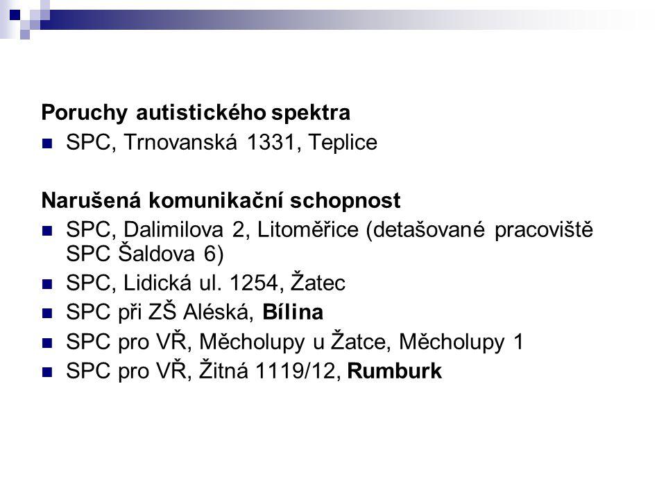 Poruchy autistického spektra SPC, Trnovanská 1331, Teplice Narušená komunikační schopnost SPC, Dalimilova 2, Litoměřice (detašované pracoviště SPC Šal