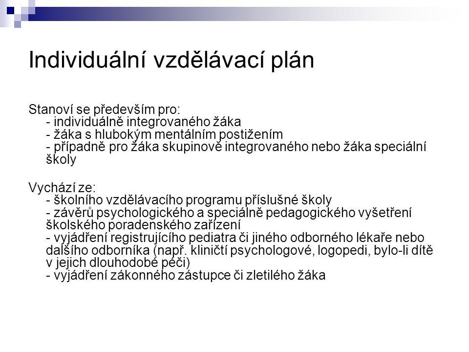 Individuální vzdělávací plán Stanoví se především pro: - individuálně integrovaného žáka - žáka s hlubokým mentálním postižením - případně pro žáka sk