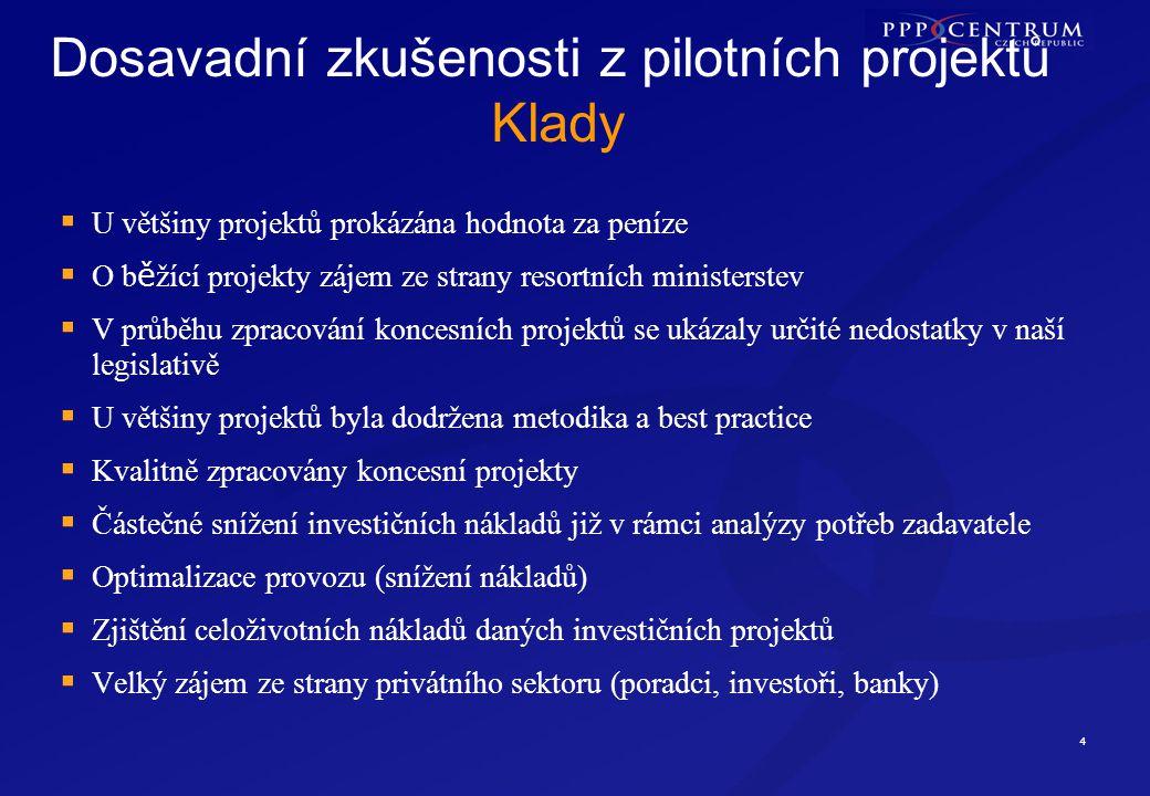 5 Dosavadní zkušenosti z pilotních projektů Zápory  Dlouhodobý proces schvalování pilotních projektů (zejména ve vládě)  U některých projektů rozhodovali politické vlivy, nikoliv ekonomické  Nedostatečná příprava některých projektů  Měnící se potřeby zadavatele (špatná definice potřeb, politický vliv apod.)  Málo času pro privátní partnery (v rámci soutěžního dialogu)  Problémy s financováním některých projektů  Malá publicita pilotních projektů  Minimální snaha o nové PPP projekty  Ministerstva nezkoumají alternativu PPP u připravovaných projektů  Malá informovanost o některých PPP projektech (např.