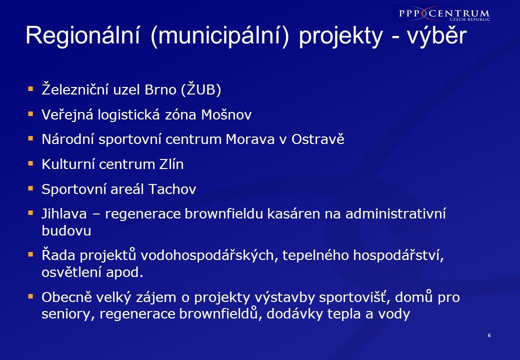 6 Regionální (municipální) projekty - výběr  Železniční uzel Brno (ŽUB)  Veřejná logistická zóna Mošnov  Národní sportovní centrum Morava v Ostravě
