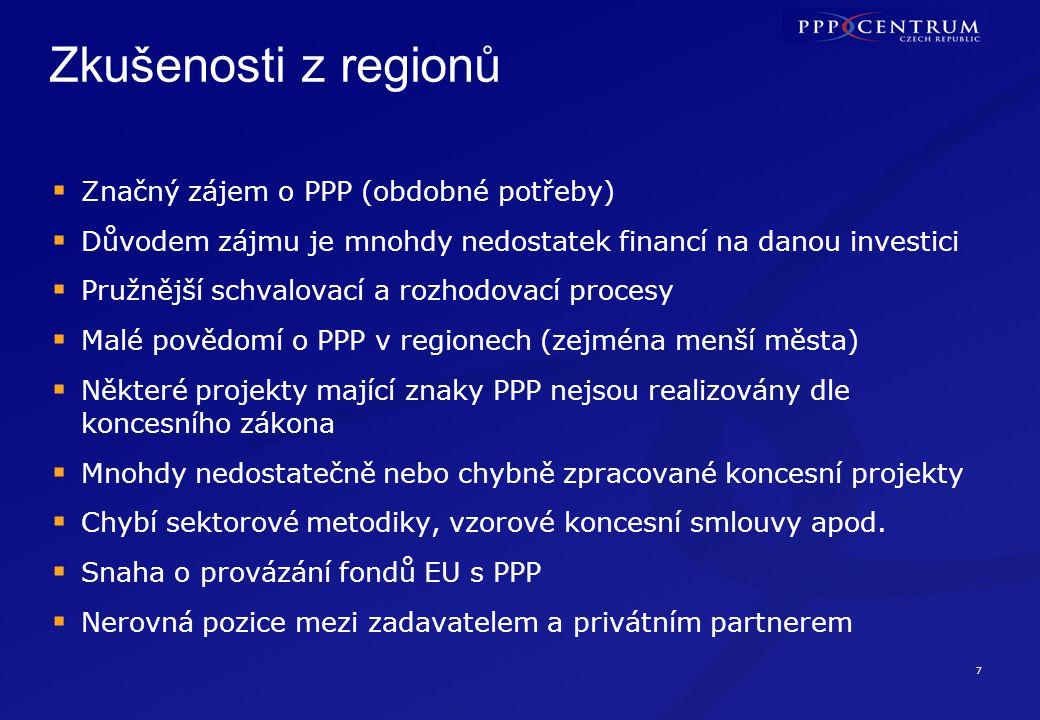 7 Zkušenosti z regionů  Značný zájem o PPP (obdobné potřeby)  Důvodem zájmu je mnohdy nedostatek financí na danou investici  Pružnější schvalovací