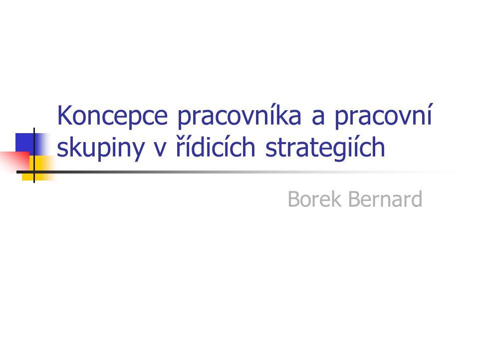 Koncepce pracovníka a pracovní skupiny v řídicích strategiích Borek Bernard