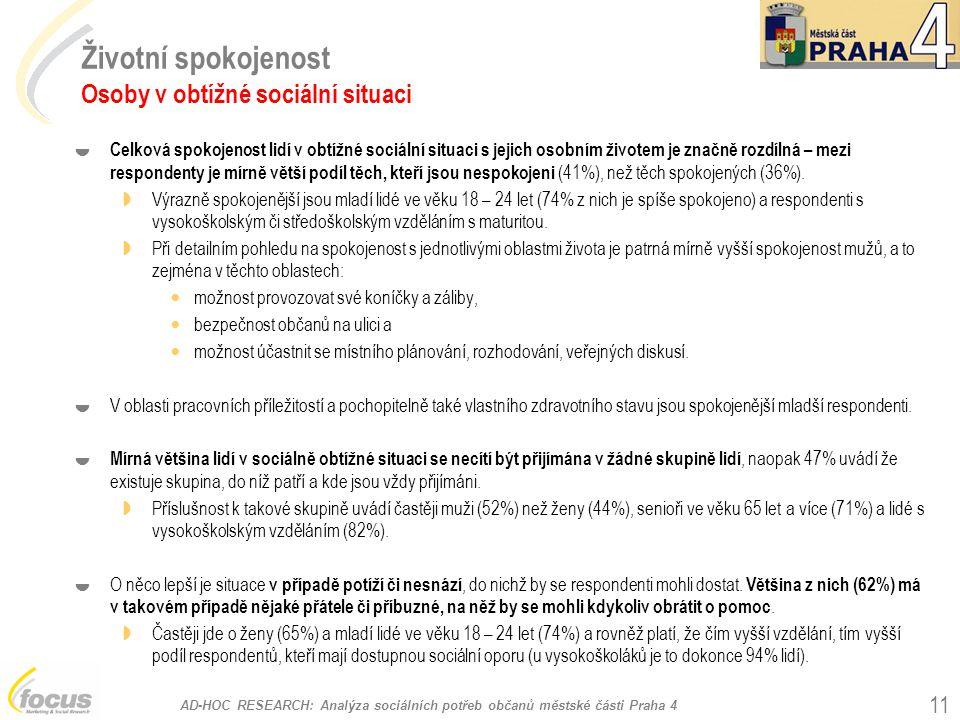 AD-HOC RESEARCH: Analýza sociálních potřeb občanů městské části Praha 4 11 Životní spokojenost Osoby v obtížné sociální situaci  Celková spokojenost