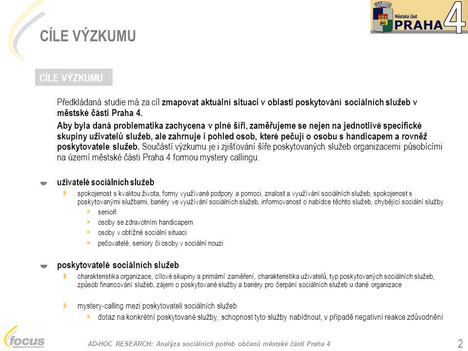 AD-HOC RESEARCH: Analýza sociálních potřeb občanů městské části Praha 4 3 DESIGN VÝZKUMU  uživatelé sociálních služeb  kvantitativní dotazníkový výzkum mezi uživateli sociálních služeb v městské části Praha 4  cílové skupiny a velikost vzorku senioři (n = 229); interval spolehlivosti 6,47% na 95% hladině významnosti osoby se zdravotním handicapem (n = 180); interval spolehlivosti 7,06% na 95% hladině významnosti osoby v obtížné sociální situaci (n = 204); interval spolehlivosti 7,52% na 95% hladině významnosti pečovatelé o seniory či osoby v sociální nouzi (n = 413) interval spolehlivosti 4,04% na 95% hladině významnosti  způsob, termín a místo sběru dat: senioři – F2F výzkum v domácnostech, – kvóta dle pohlaví, věku, domácnost / dům s peč.