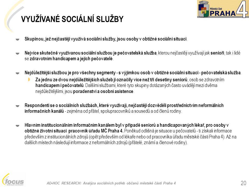 AD-HOC RESEARCH: Analýza sociálních potřeb občanů městské části Praha 4 20  Skupinou, jež nejčastěji využívá sociální služby, jsou osoby v obtížné sociální situaci.