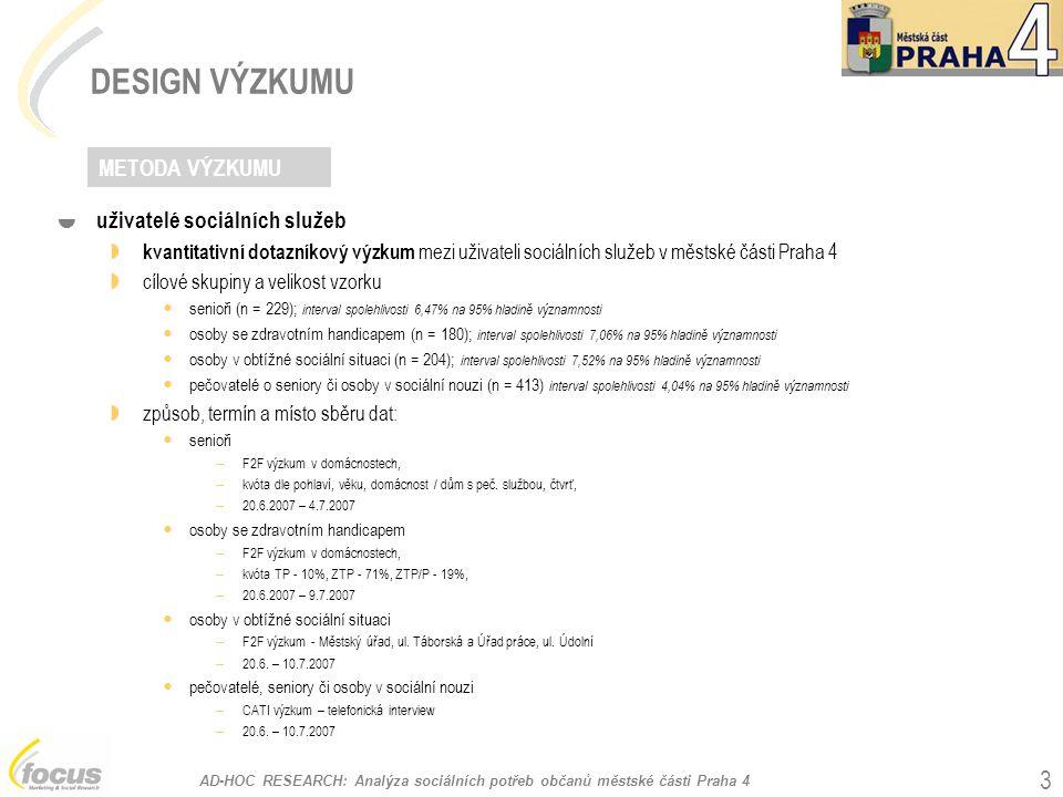 AD-HOC RESEARCH: Analýza sociálních potřeb občanů městské části Praha 4 4 DESIGN VÝZKUMU  poskytovatelé sociálních služeb A  dotazníkový výzkum – kombinace on-line výzkumu (webové rozhraní) nebo klasického dotazníku e-mailem  cílová skupina všechny organizace a instituce poskytující sociální služby v dané oblasti (absolutní výběr) n = 36 způsob a termín sběru dat: – dotazník zaslaný e-mailem / www dotazník (respondent mohl zvolit variantu) – telefonický kontakt s respondenty 20.6.
