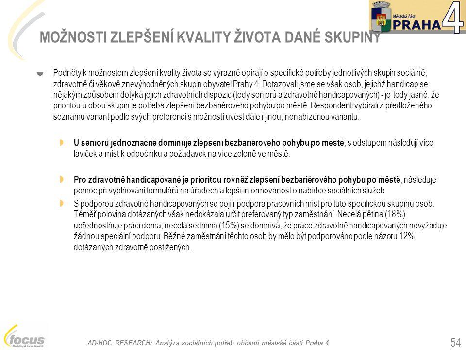 AD-HOC RESEARCH: Analýza sociálních potřeb občanů městské části Praha 4 54 MOŽNOSTI ZLEPŠENÍ KVALITY ŽIVOTA DANÉ SKUPINY  Podněty k možnostem zlepšen