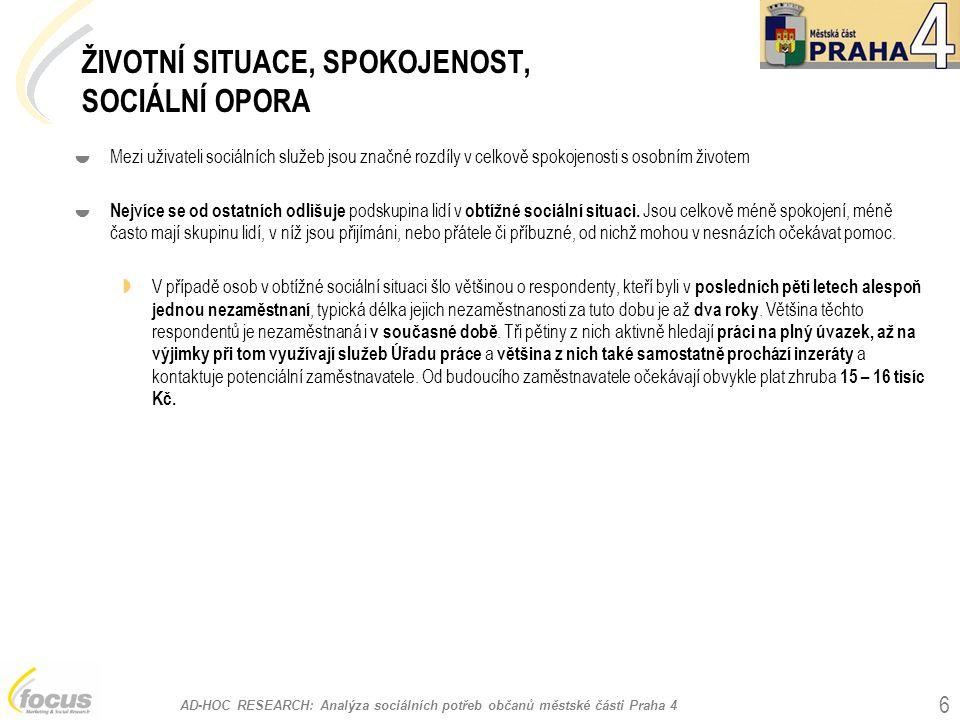 """AD-HOC RESEARCH: Analýza sociálních potřeb občanů městské části Praha 4 67 Finanční dostupnost sociálních služeb %, Base (n): 229 """"Je většina sociálních služeb, které potřebujete pro svůj život, pro Vás finančně dostupná? ANO 40% NE 35% senioři %, Base (n): 180 ANO 42% NE 43% osoby se zdravotním handicapem"""