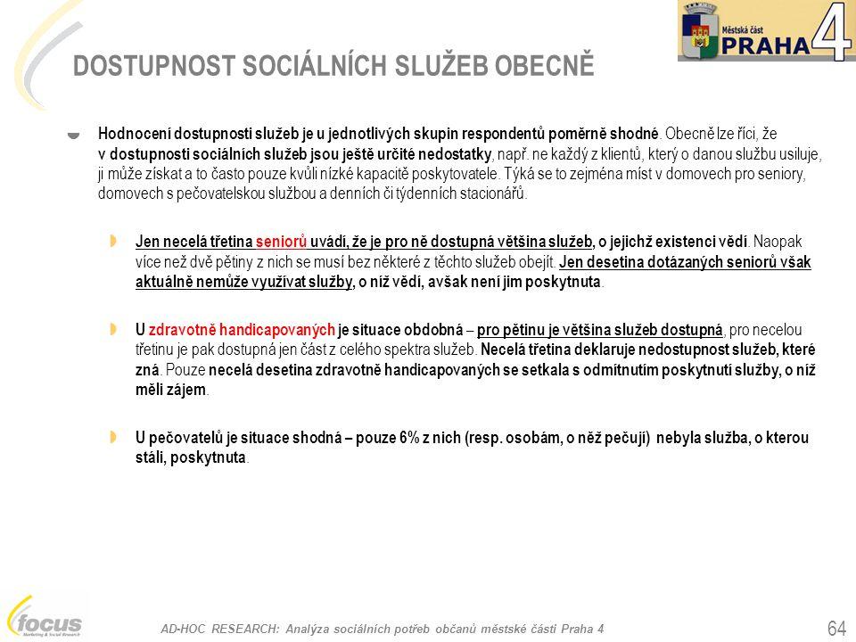 AD-HOC RESEARCH: Analýza sociálních potřeb občanů městské části Praha 4 64 DOSTUPNOST SOCIÁLNÍCH SLUŽEB OBECNĚ  Hodnocení dostupnosti služeb je u jednotlivých skupin respondentů poměrně shodné.