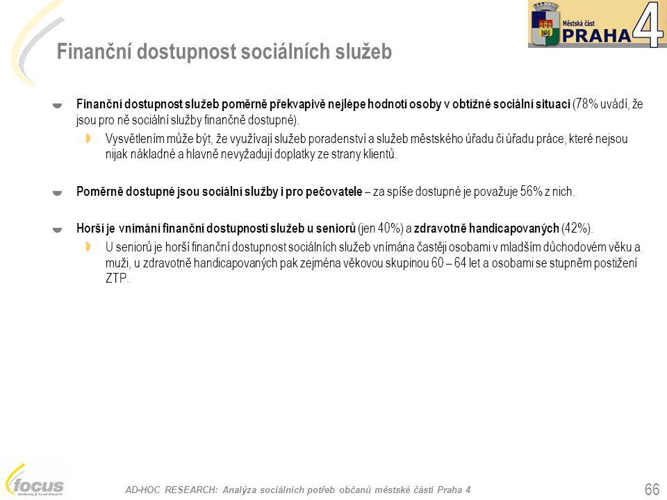 AD-HOC RESEARCH: Analýza sociálních potřeb občanů městské části Praha 4 66 Finanční dostupnost sociálních služeb  Finanční dostupnost služeb poměrně překvapivě nejlépe hodnotí osoby v obtížné sociální situaci (78% uvádí, že jsou pro ně sociální služby finančně dostupné).