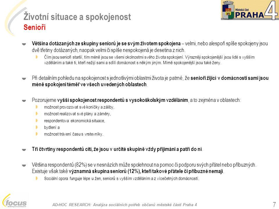 """AD-HOC RESEARCH: Analýza sociálních potřeb občanů městské části Praha 4 38 SPOKOJENOST SE DVĚMA NEJDŮLEŽITĚJŠÍMI SLUŽBAMI - HANDICAPOVANÍ """"Do jaké míry jste spokojen/a s danou službou? (q23 a q29) PEČOVATELSKÁ SLUŽBA (N=71)OSOBNÍ ASISTENCE (N=28)CHRÁNĚNÉ BYDLENÍ (N=17) PORADENSTVÍ (N=15) ODLEHČOVACÍ SLUŽBY (N=14) DOMOV PRO ZDRAVOTNĚ POSTIŽENÉ (N=11)"""