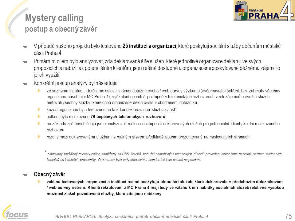 AD-HOC RESEARCH: Analýza sociálních potřeb občanů městské části Praha 4 75 Mystery calling postup a obecný závěr  V případě našeho projektu bylo test