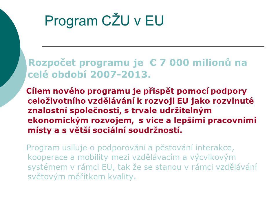 Program CŽU v EU Rozpočet programu je € 7 000 milionů na celé období 2007-2013. Cílem nového programu je přispět pomocí podpory celoživotního vzdělává
