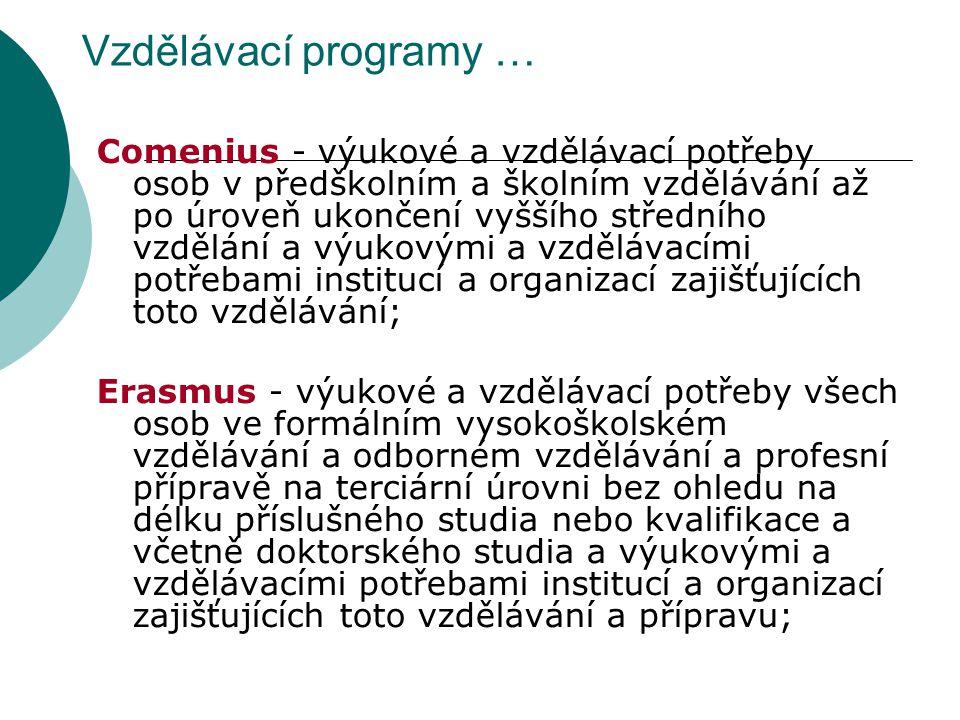 Vzdělávací programy … Comenius - výukové a vzdělávací potřeby osob v předškolním a školním vzdělávání až po úroveň ukončení vyššího středního vzdělání a výukovými a vzdělávacími potřebami institucí a organizací zajišťujících toto vzdělávání; Erasmus - výukové a vzdělávací potřeby všech osob ve formálním vysokoškolském vzdělávání a odborném vzdělávání a profesní přípravě na terciární úrovni bez ohledu na délku příslušného studia nebo kvalifikace a včetně doktorského studia a výukovými a vzdělávacími potřebami institucí a organizací zajišťujících toto vzdělávání a přípravu;