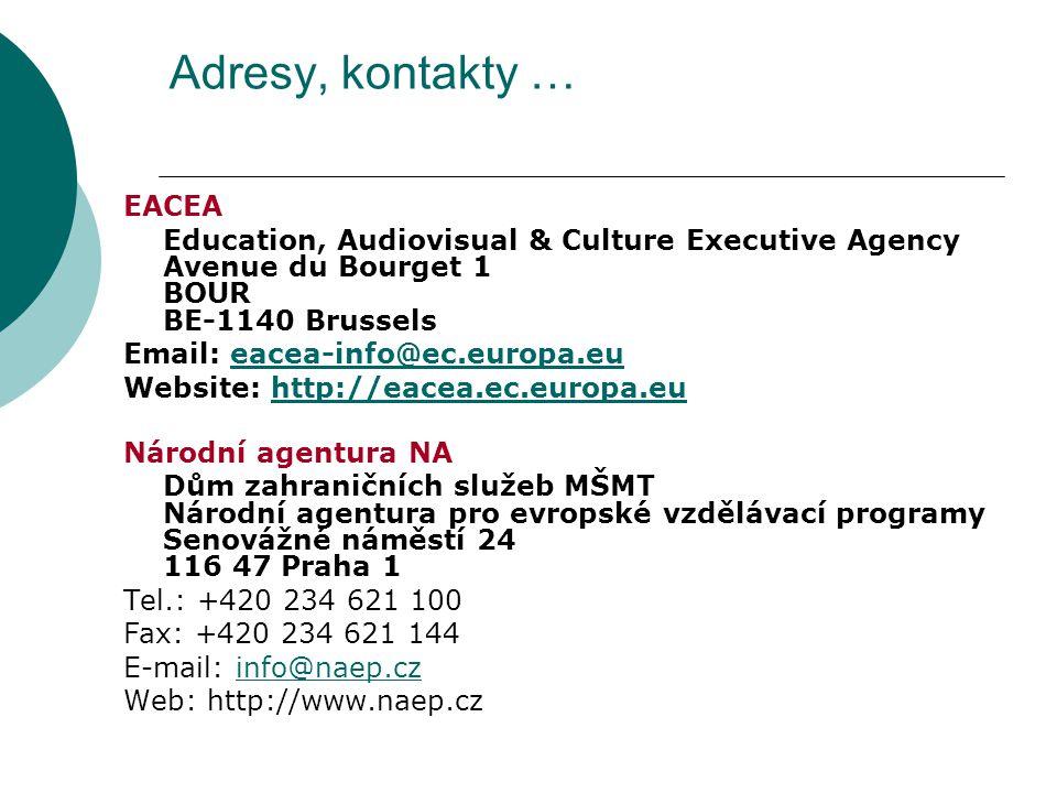 Adresy, kontakty … EACEA Education, Audiovisual & Culture Executive Agency Avenue du Bourget 1 BOUR BE-1140 Brussels Email: eacea-info@ec.europa.eueacea-info@ec.europa.eu Website: http://eacea.ec.europa.euhttp://eacea.ec.europa.eu Národní agentura NA Dům zahraničních služeb MŠMT Národní agentura pro evropské vzdělávací programy Senovážné náměstí 24 116 47 Praha 1 Tel.: +420 234 621 100 Fax: +420 234 621 144 E-mail: info@naep.czinfo@naep.cz Web: http://www.naep.cz