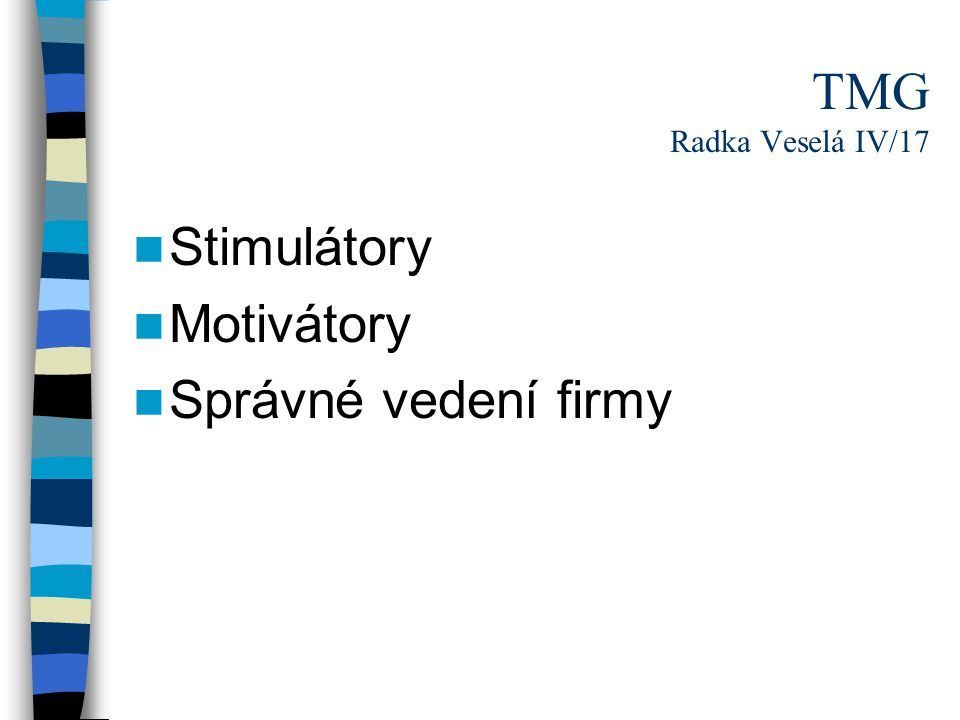 TMG Radka Veselá IV/17 Stimulátory Motivátory Správné vedení firmy
