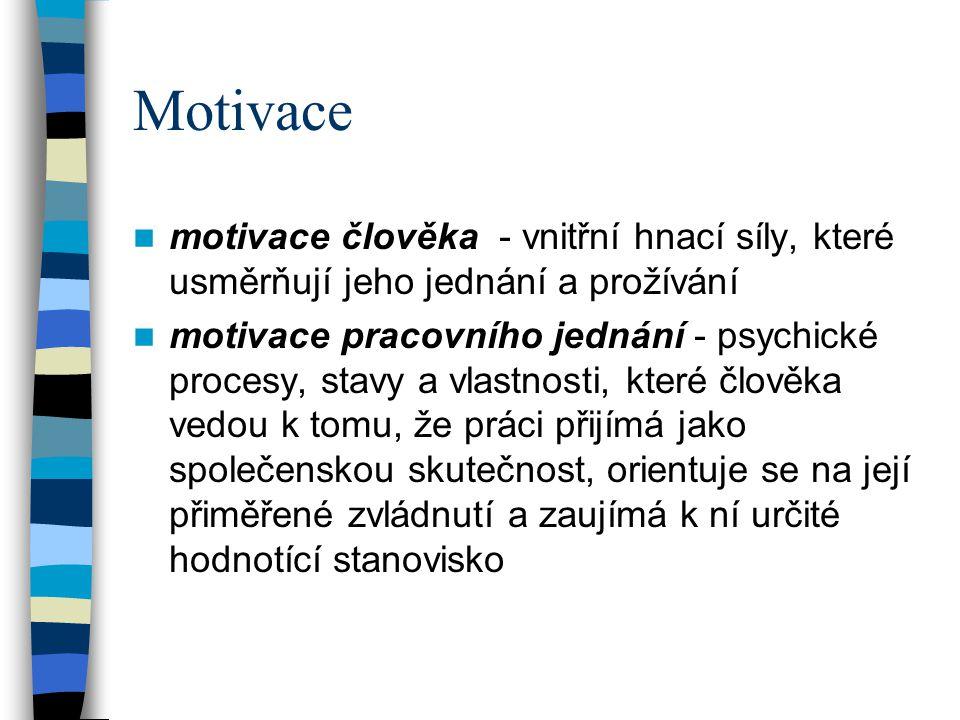 Motivace motivace člověka - vnitřní hnací síly, které usměrňují jeho jednání a prožívání motivace pracovního jednání - psychické procesy, stavy a vlastnosti, které člověka vedou k tomu, že práci přijímá jako společenskou skutečnost, orientuje se na její přiměřené zvládnutí a zaujímá k ní určité hodnotící stanovisko