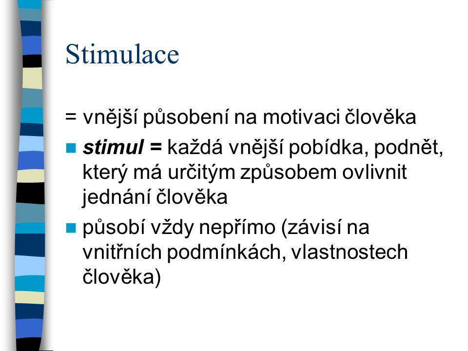 Stimulace = vnější působení na motivaci člověka stimul = každá vnější pobídka, podnět, který má určitým způsobem ovlivnit jednání člověka působí vždy nepřímo (závisí na vnitřních podmínkách, vlastnostech člověka)