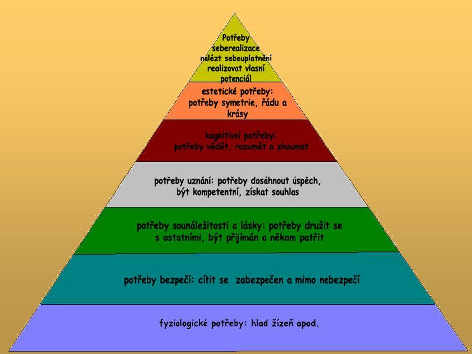 Potřeby na jedné úrovni musí být alespoň částečně uspokojeny dříve, než se potřeby na následující vyšší úrovni stanou důležitými determinantami jednání Pyramida potřeb