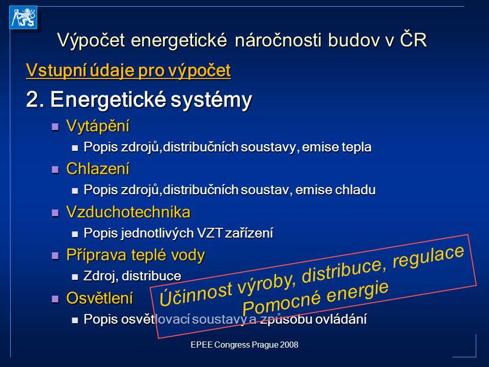 EPEE Congress Prague 2008 Vstupní údaje pro výpočet 2. Energetické systémy Vytápění Vytápění Popis zdrojů,distribučních soustavy, emise tepla Popis zd