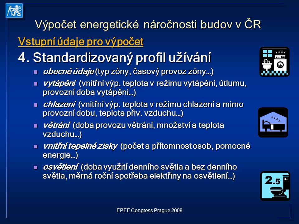 EPEE Congress Prague 2008 Vstupní údaje pro výpočet 4. Standardizovaný profil užívání obecné údaje (typ zóny, časový provoz zóny…) obecné údaje (typ z
