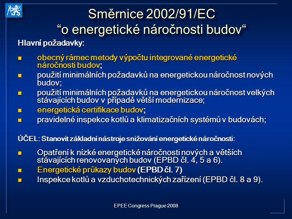 "EPEE Congress Prague 2008 Směrnice 2002/91/EC ""o energetické náročnosti budov"" Hlavní požadavky: obecný rámec metody výpočtu integrované energetické n"