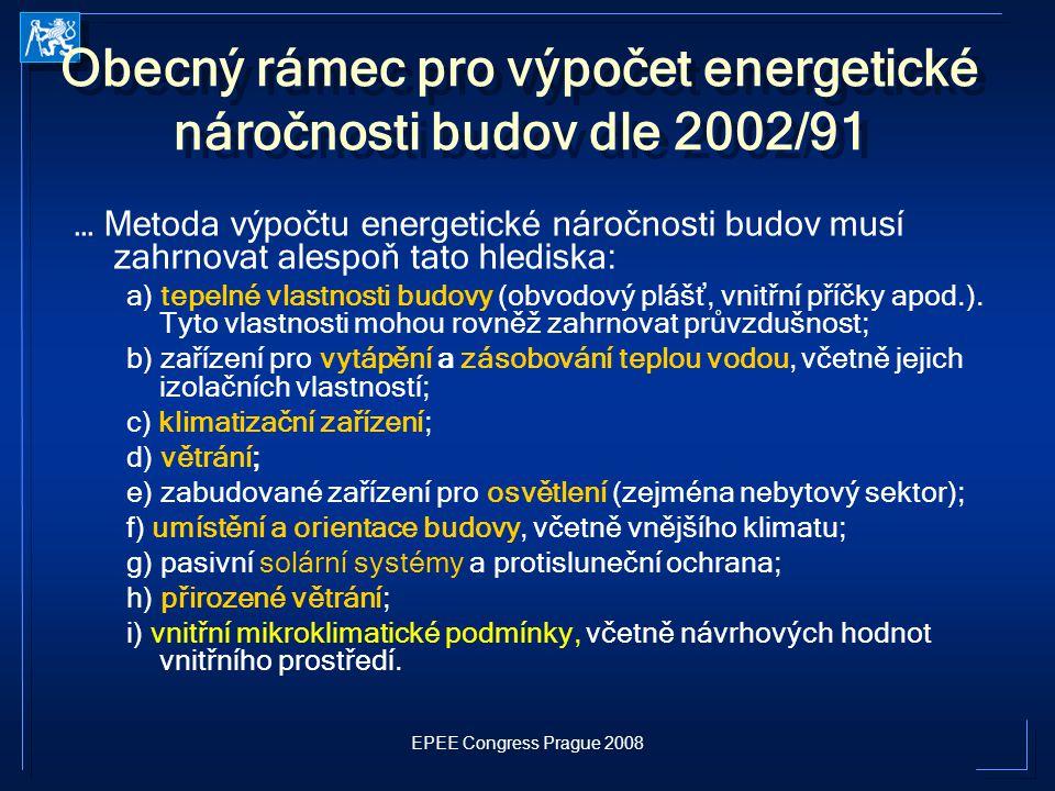 EPEE Congress Prague 2008 Obecný rámec pro výpočet energetické náročnosti budov dle 2002/91 … Metoda výpočtu energetické náročnosti budov musí zahrnov