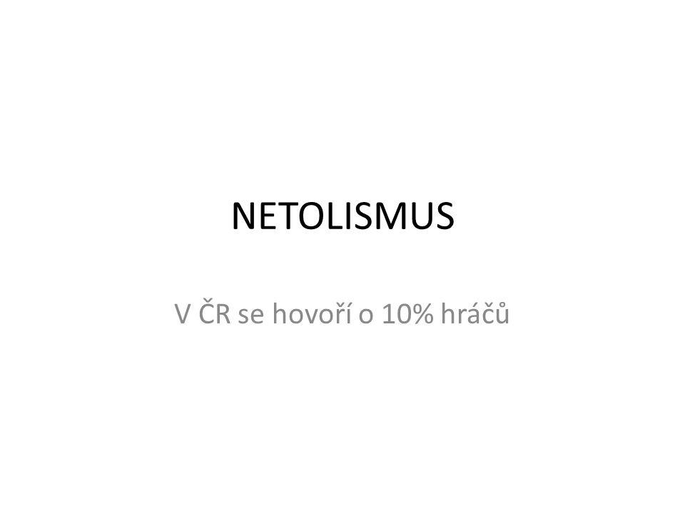NETOLISMUS V ČR se hovoří o 10% hráčů