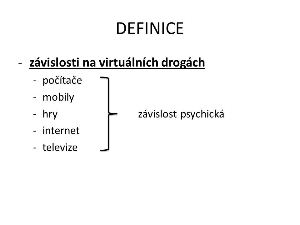 DEFINICE -závislosti na virtuálních drogách -počítače -mobily -hryzávislost psychická -internet -televize