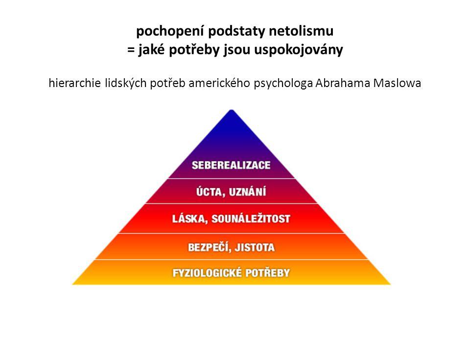 pochopení podstaty netolismu = jaké potřeby jsou uspokojovány hierarchie lidských potřeb amerického psychologa Abrahama Maslowa