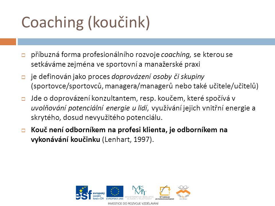 Coaching (koučink)  příbuzná forma profesionálního rozvoje coaching, se kterou se setkáváme zejména ve sportovní a manažerské praxi  je definován jako proces doprovázení osoby či skupiny (sportovce/sportovců, managera/managerů nebo také učitele/učitelů)  Jde o doprovázení konzultantem, resp.