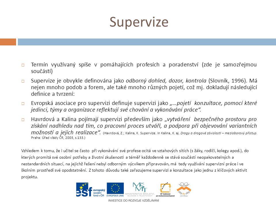 Supervize  Termín využívaný spíše v pomáhajících profesích a poradenství (zde je samozřejmou součástí)  Supervize je obvykle definována jako odborný dohled, dozor, kontrola (Slovník, 1996).