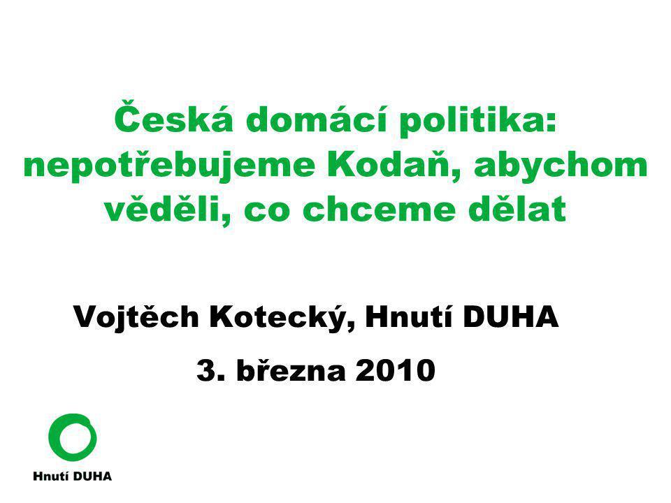Česká domácí politika: nepotřebujeme Kodaň, abychom věděli, co chceme dělat Vojtěch Kotecký, Hnutí DUHA 3. března 2010