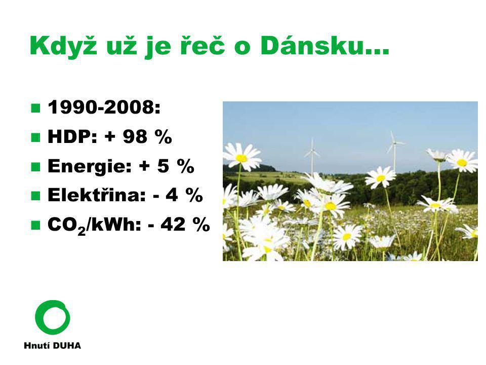 Když už je řeč o Dánsku… 1990-2008: HDP: + 98 % Energie: + 5 % Elektřina: - 4 % CO 2 /kWh: - 42 %