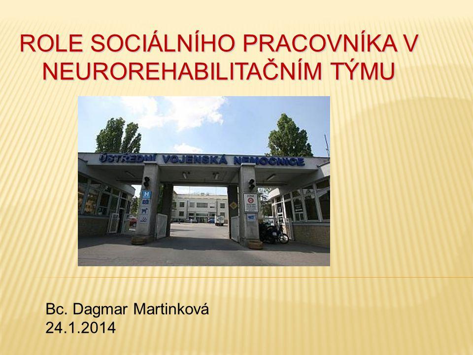 ROLE SOCIÁLNÍHO PRACOVNÍKA V NEUROREHABILITAČNÍM TÝMU Bc. Dagmar Martinková 24.1.2014