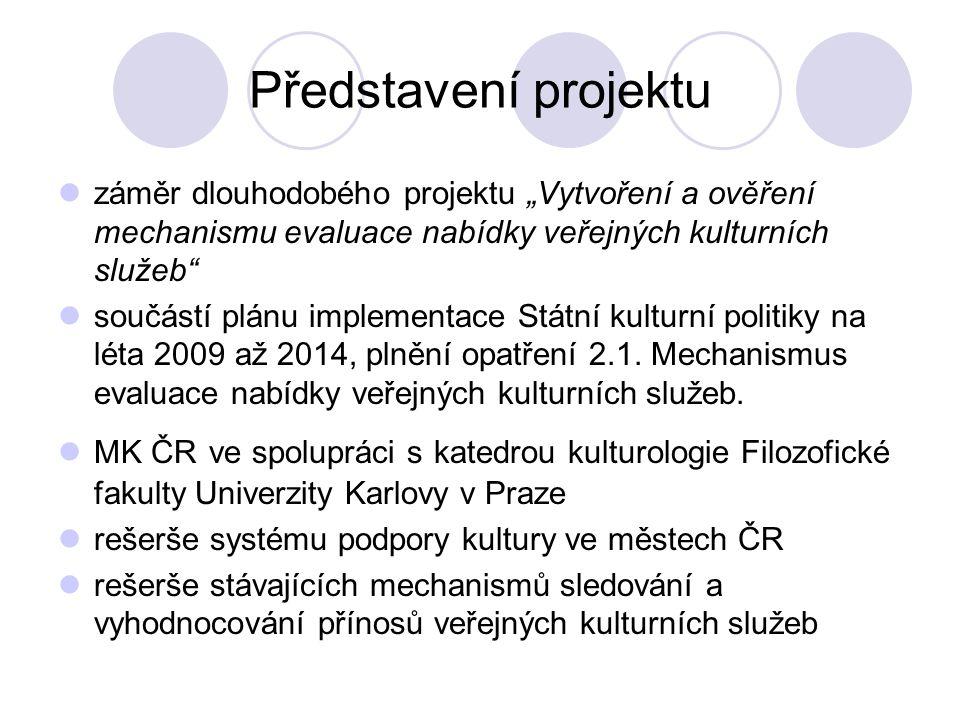 """Představení projektu záměr dlouhodobého projektu """"Vytvoření a ověření mechanismu evaluace nabídky veřejných kulturních služeb součástí plánu implementace Státní kulturní politiky na léta 2009 až 2014, plnění opatření 2.1."""