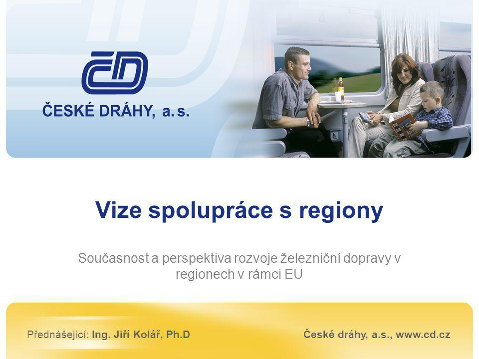 Vize spolupráce s regiony Současnost a perspektiva rozvoje železniční dopravy v regionech v rámci EU Přednášející: Ing. Jiří Kolář, Ph.DČeské dráhy, a